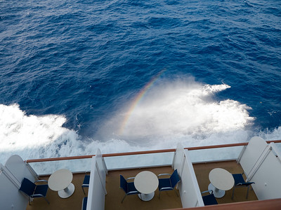 Rainbow from the spray as our ship heads NW to NYC.