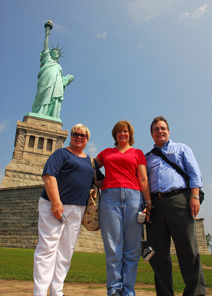 tourists!  Mary, Molly and Alan at the Statue of Liberty