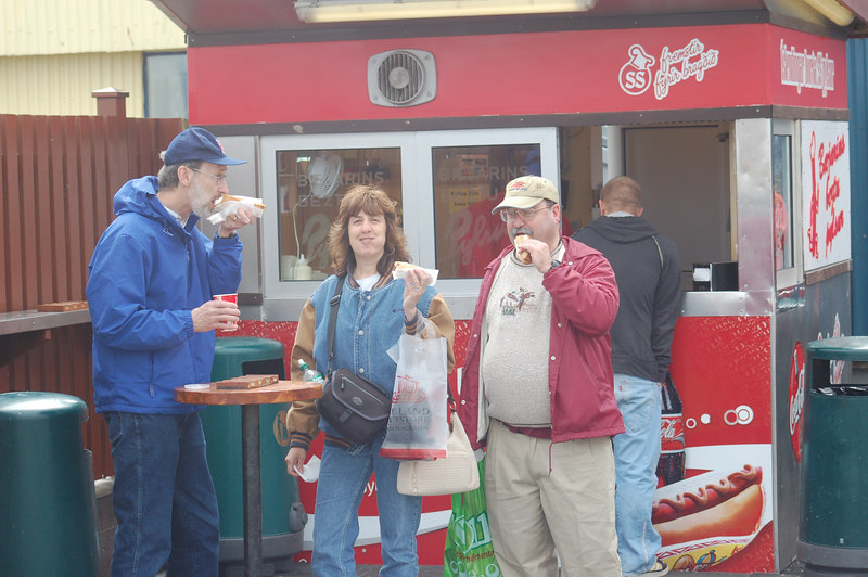 Brian, me and Lee at our favorite Reykjavik hot dog stand (Bev's photo)