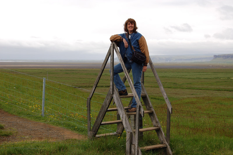 That's me, on one of the ladders set up so you can get over a fence keeping livestock in and continu hiking (Bev's photo)