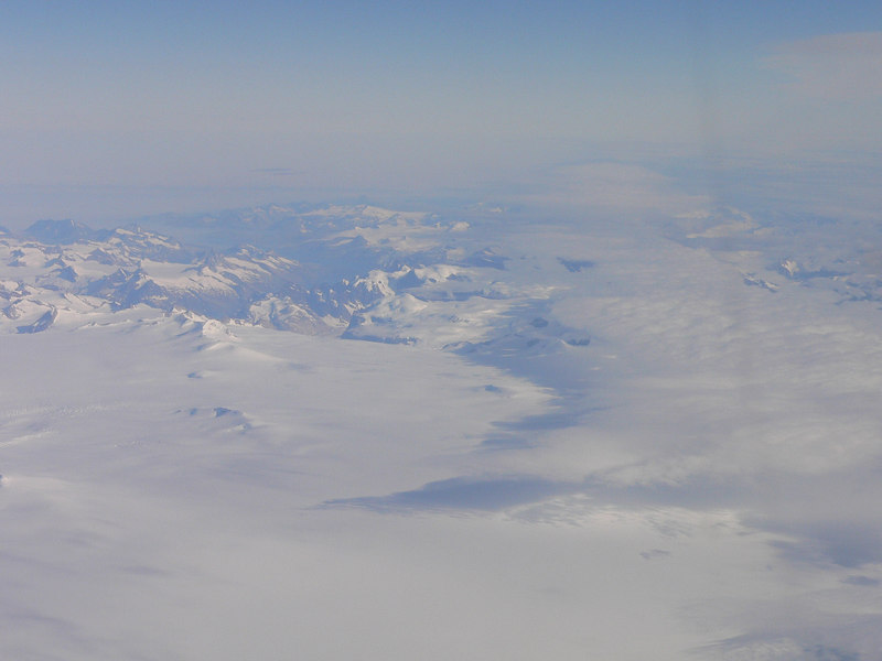 View of Greenland from the plane on the way home