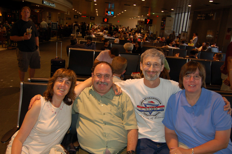 Sorry, we're out of chronological order here now, with a few more photos starting at the beginning, because these are with Bev's camera. Here we are, the four of us, awaiting our great Iceland adventure at Logan Airport (taken by a kind stranger).