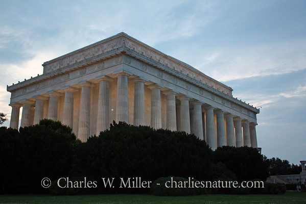 The Lincoln Memorial at dusk
