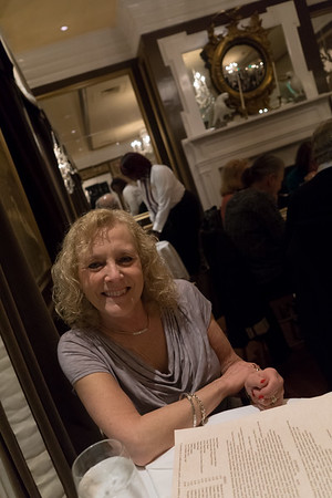 Stacey, in our usual haunt: the Olde Pink House, a wonderful restaurant in Savannah.