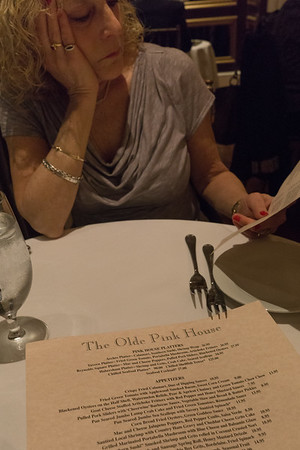 The menu. Such difficult decisions. She had salmon; I had a pork chop. 'Twas delicious!