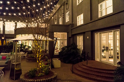 The inner courtyard of the Kimpton Brice hotel in Savannah.
