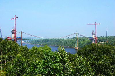 Waldo-Hancock bridge, Penobscot River.  A new bridge is under construction.