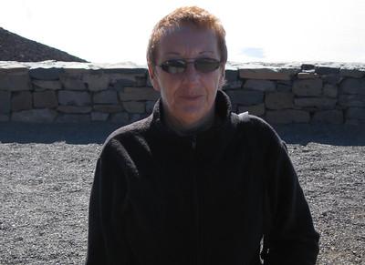 Lynne at 10,000 feet in a high wind.