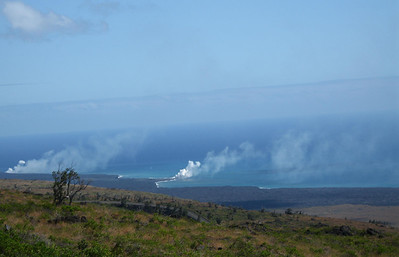 The active area where the lava is entering the ocean