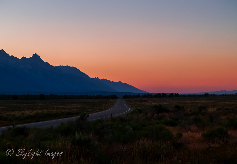 Into the sunset along the Tetons