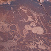 rock art: hoof prints and various animals.