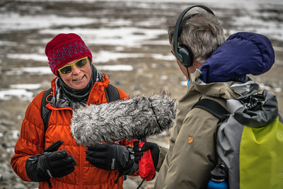 Our Scientist-In-Residence Jackie Dawson being interviewed by Mark Stratton (freelance journalist for the BBC, National Geographic, Wanderlust, and others)