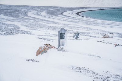 A headstone at Beechey Island.  There were four grave markers for the members of the Franklin Expedition.