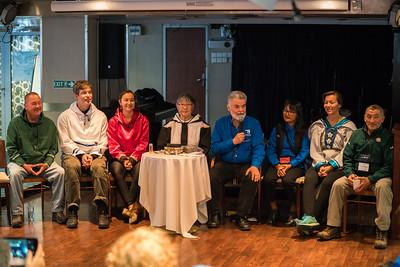 Inuit welcome.  (L-R) Derrick Pottle (Rigloet, Labrador), Andrew Breshnahan (Makkovik, Labrador), Jennifer Kilabuk (Iqaluit),  Susie Evyagotailak (Kugluktuk), John Houston (Cape Dorset, NU), Looee Okalik (Pangnirtung, NU), Ashley Kilabuk (Iqaluit), Billy Etuangat (Pangnirtung)
