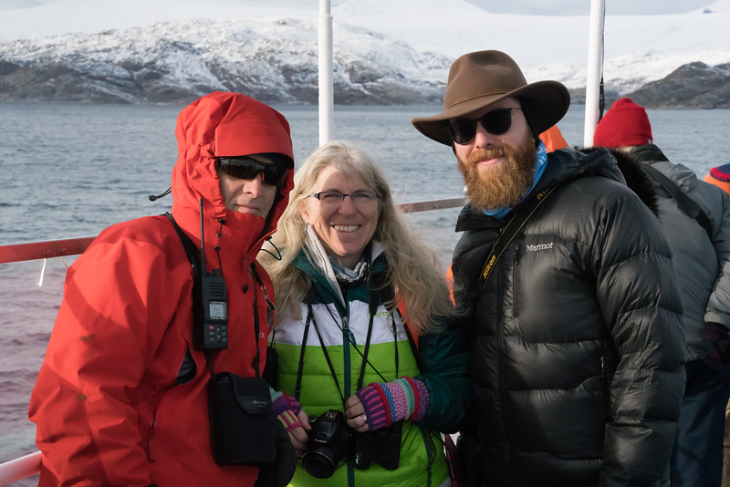 The Mallory Family.  (L-R) Ornithologist Mark, Botanist Carolyn, their son, PhD candidate Conor (dissertation on Caribou)