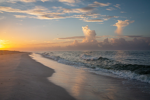 Sunrise and Clouds on Johnson Beach