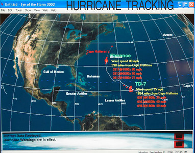 Hurrican Florence is tracked in the Atlantic Ocean.