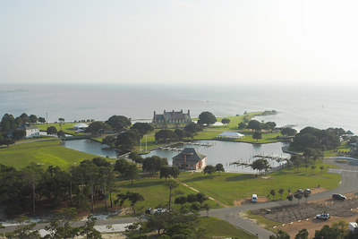 The Whalehead Club can be seen in a southwest view from the top of the Corolla lighthouse.  This 21,000 sq. ft. house was built by a wealthy Philadelphian between 1920 and 1925 as a winter retreat.  No longer a private residence, this restored structure is available for touring and events.