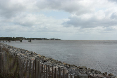 View of the west side of the island looking south to Virginia Dare Memorial Bridge.