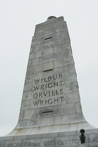 A close up of the Wright Brothers Memorial taken from the top of the dune.