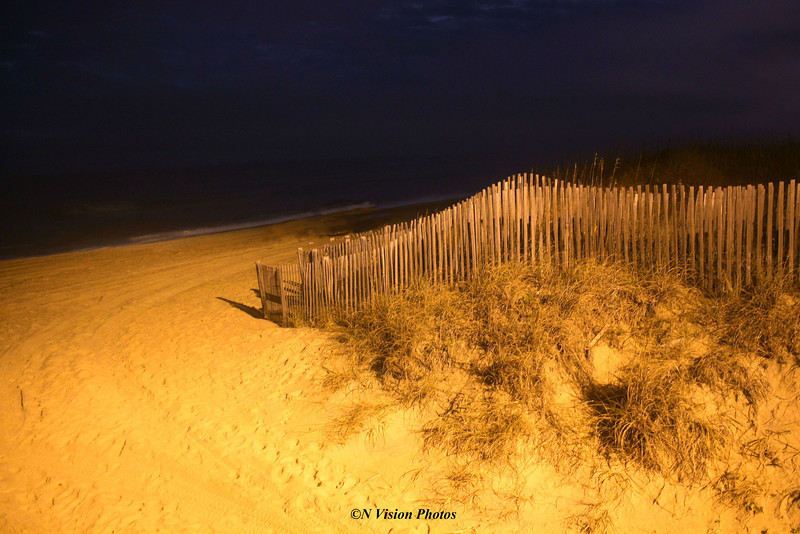 Sand dunes at night on the North Carolina, Outer Banks near Kill Devil Hills.