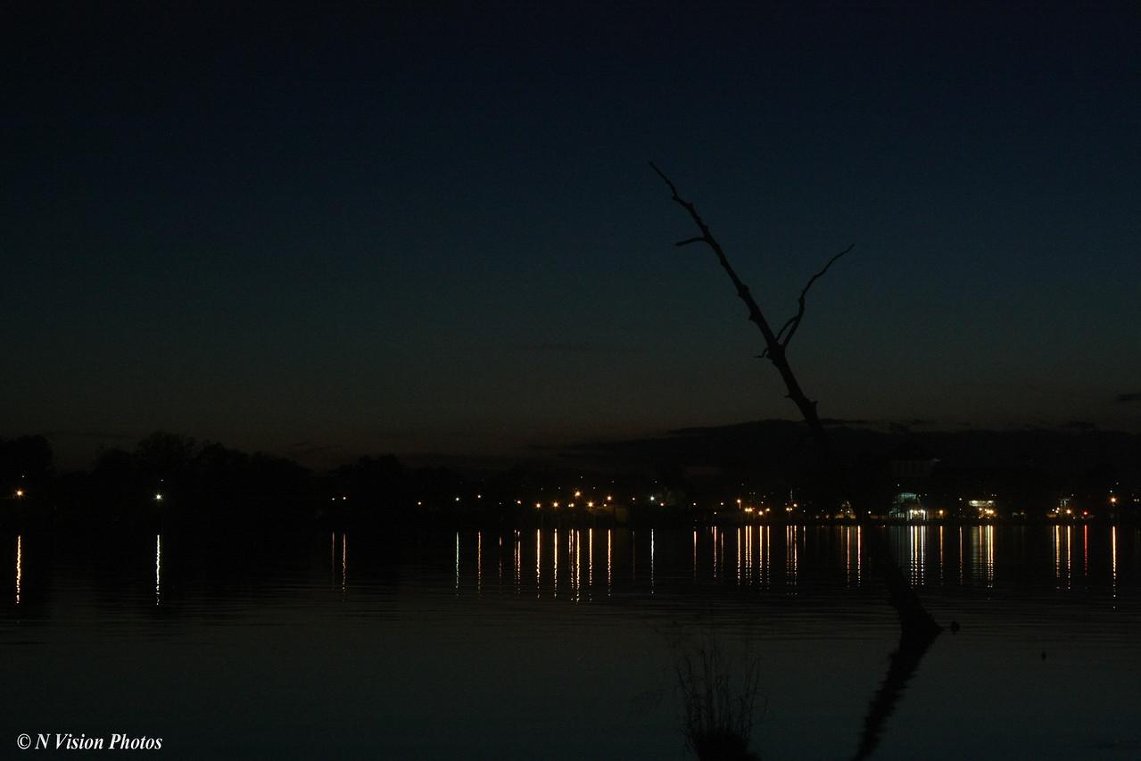 City lights of the waterfront at Elizabeth City, North Carolina at dusk.