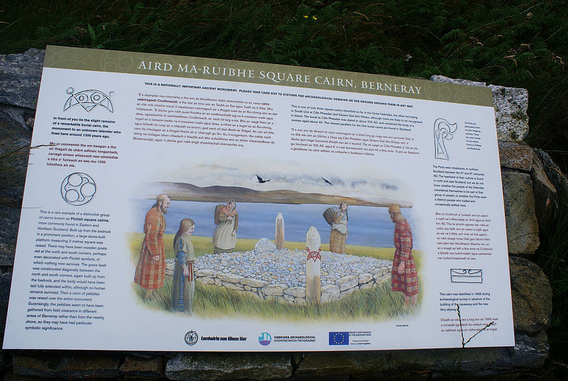 An informative notice near to the Berneray ferry terminal telling the story of the ancient square cairn found nearby (click the picture uf to full size to read.