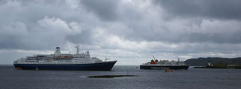 Marco Polo and Isle of Lewis off Stornoway