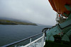 Hebrides proceeding up a very misty Loch Maddy, using her horn to warn any unseen small craft of her presence