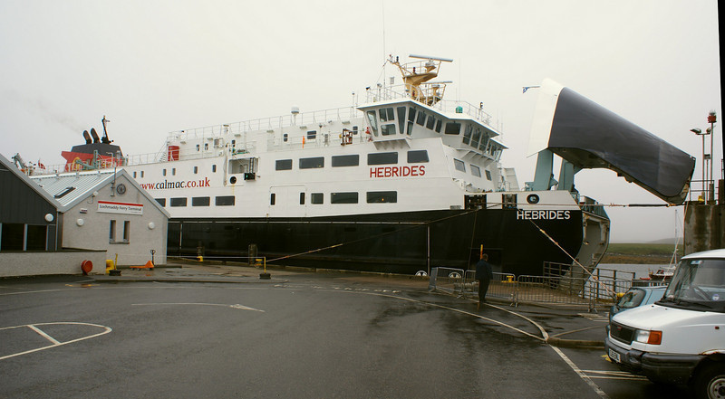 MV Hebrides loading at Lochmaddy in wet and misty conditions. The vessel was built at the Ferguson shipyard in Port Glasgow and is the only ship in the entire history of Caledonian MacBrayne and its predecessors to have been launched by a reigning British monarch