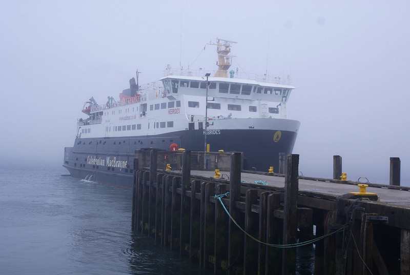 Only just clear of the end of Lochmaddy pier and Hebrides is already disappearing into the mist