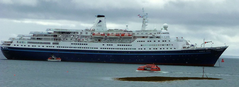 Tenders operating a shuttle service between Marco Polo and Stornoway harbour