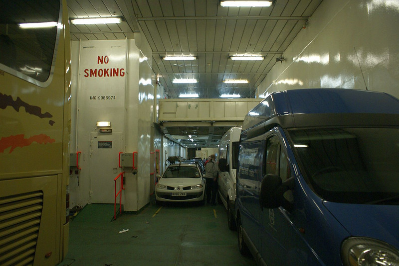Port side main vehicle deck, MV Isle of Lewis with the hoistable mezzanine deck in lowered position