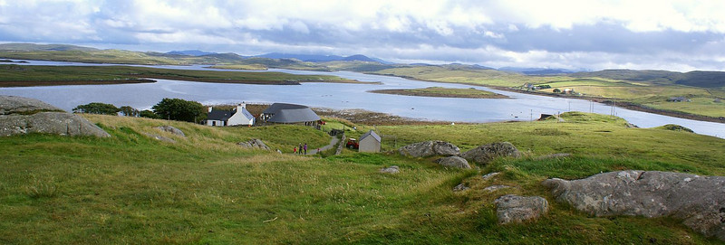 The semi circular roof by the loch is the Callanish visitor center