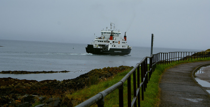 On a clear day the Sleat peninsula on Skye, where the ship is bound, can be seen from here