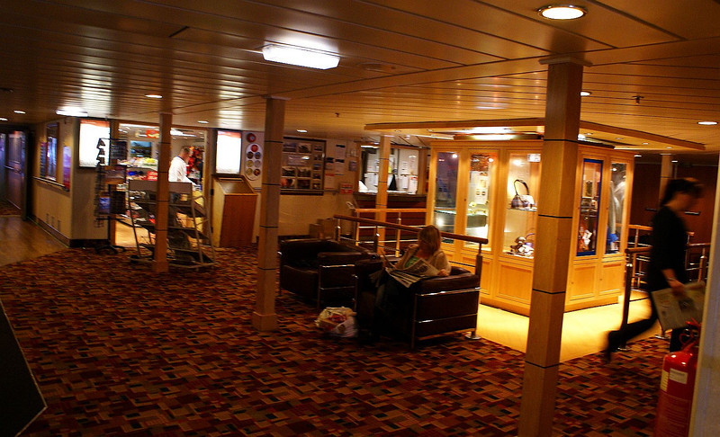Refurbished central reception area on MV Isle of Lewis