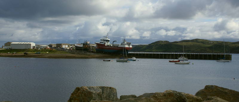 Wider view of the Goat Island shipyard in Stornoway