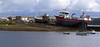 Goat Island Boatyard at Stornoway with two fishing industry vessels on the slips for repairs