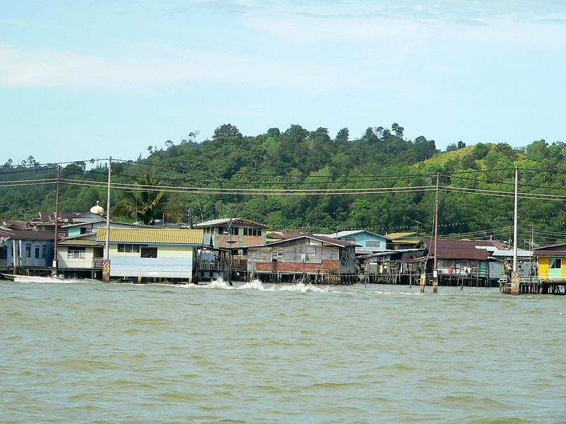Part of Kampung Ayer, the water village where 30,000 people live in houses built on stilts.   By the number of satellite dishes on these stilt houses, it's obvious that they have all mod cons.