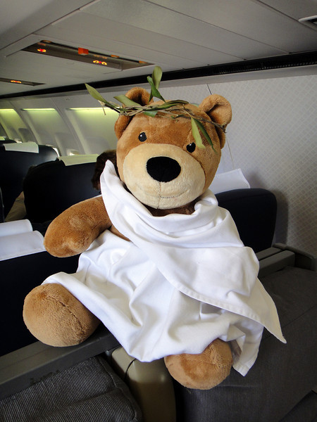 Monday, 22 November 2010 - Monarch's teddy mascot ready for our visit to Tripoli, Libya.   Flight time from Addis Ababa to Tripoli was 5 hours 30 minutes.