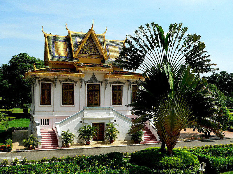 Within the grounds of the Royal Palace, Phnom Penh.   This pavilion is where the King would board an elephant for ceremonial occasions.