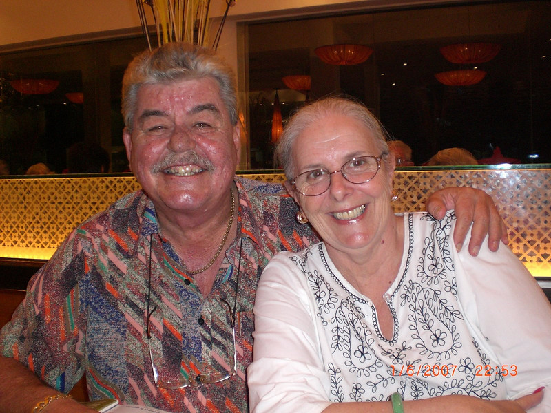A rare shot of GA & SP taken by the Doonan's at dinner at Coca Restaurant, just outside our hotel in Phnom Penh.