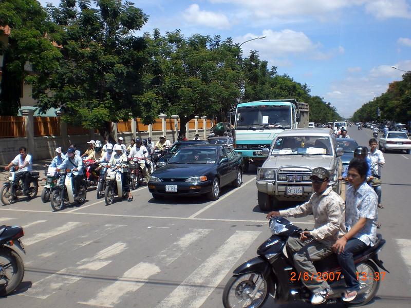More traffic in Phnom Penh.