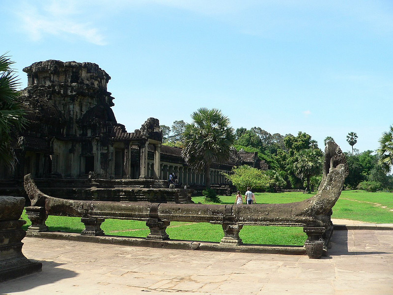 Approaching Angkor Wat Temple.