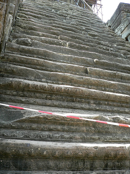 Stairway at Angkor Wat.  Climbing this particular stairway is not permitted.