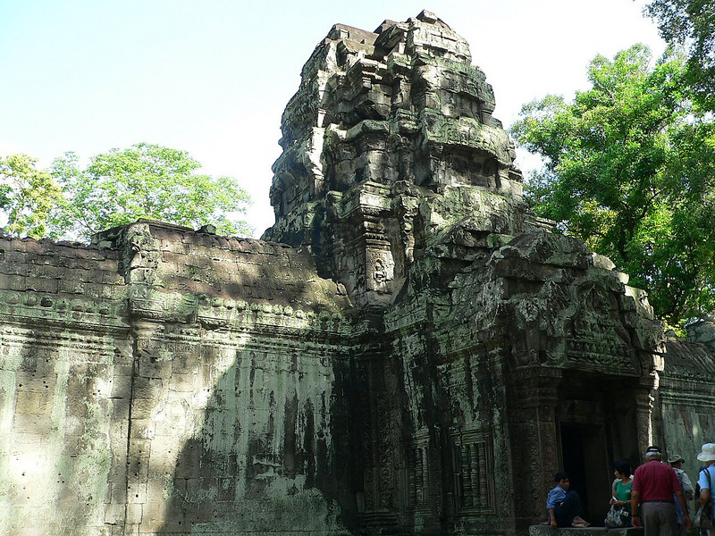 Exiting Ta Prohm Temple.