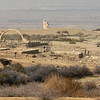 Taken from shuttle bus which took us to the start of the walking tour of the Baptism site of Jesus.<br /> <br /> This prominent, large freestanding arch was constructed in 1999 from 63 stones to commemorate the death at age 63 of King Hussein. <br /> <br /> On March 21, 2000, Pope John Paul II celebrated Mass beneath this arch. <br /> <br /> In a gesture of reconciliation, he faced west to bless Jerusalem then east to bless Mount Nebo. Ever since, the site has been known as the Church of John Paul II.