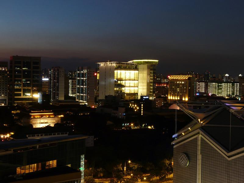 Night view from balcony of Room 1706, Marina Mandarin Hotel, Singapore.