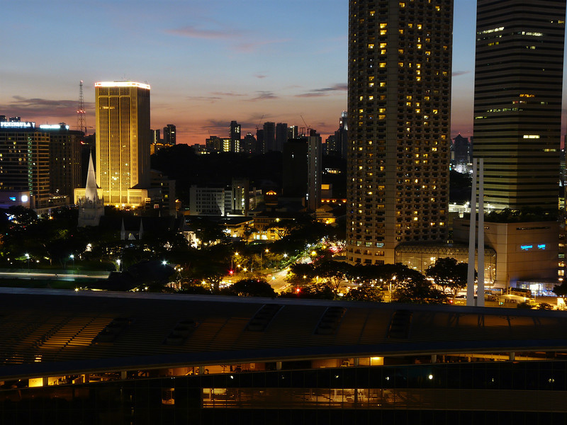 Night view from balcony of Room 1706, Marina Mandarin Hotel, Singapore.