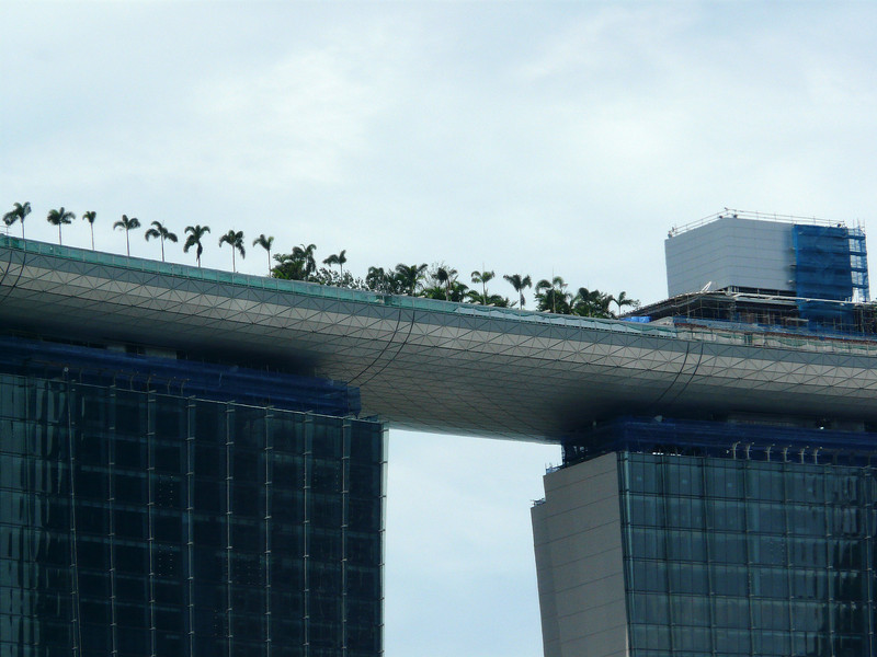 Close up of roof section of Marina Bay Sands Hotel.